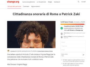 """""""Patrick Zaki cittadino onorario di Roma"""". Sfiora le 15mila firme il nostro appello su Change.org"""