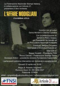 L'affare Modigliani: incontro con gli autori Dania Mondini e Claudio Loiodice. FNSI e Articolo21