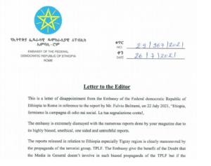 Lettera intimidatoria a Focus on Africa. L'Etiopia vuole imbavagliare la stampa italiana