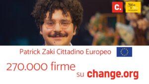 """""""Cittadinanza Italiana a Patrick Zaki"""". Oltre 270mila firme su Change.org"""