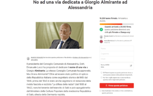 """""""No ad una via dedicata a Giorgio Almirante ad Alessandria"""". Petizione su Change.org"""