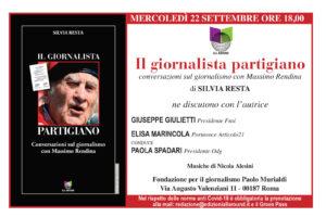 """Oggi la presentazione di """"Massimo Rendina il giornalista partigiano""""."""