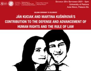 Ján Kuciak e Martina Kušnírová. Le studentesse e gli studenti dell'Università di Padova ne onorano la memoria