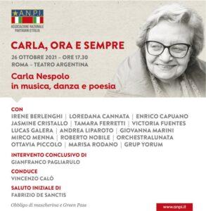 """""""Carla, ora e sempre"""". 26 ottobre al Teatro Argentina di Roma"""